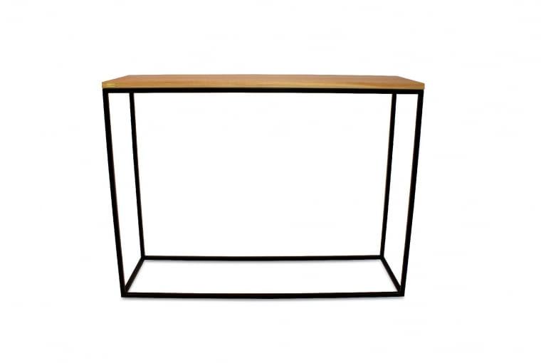 Skinny oak Minimalistyczna konsola z lakierowanej proszkowo stali i olejowanego, litego drewna dębowego. Pasuje do wnętrz w loftowym stylu. 969 zł, Take Me Home
