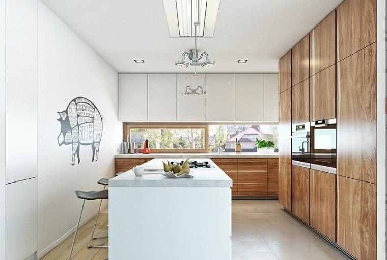 kuchnia, wyspa kuchenna, wysoka zabudowa, projekt domu