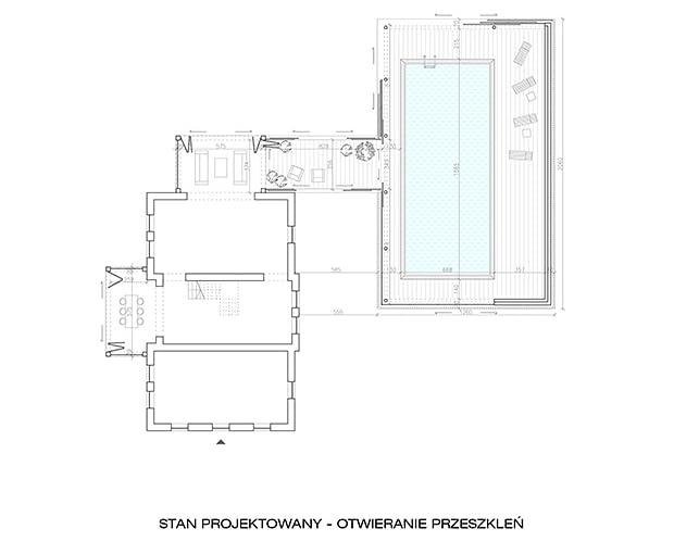 Projekt rozbudowy starego domu - rzut stanu projektowanego, otwieranie przeszkleń