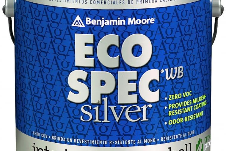 Eco Spec WB Silver 474/BENJAMIN MOORE| Rodzaj: antyalergiczna farba akrylowa bez zawartości LZO | stopień połysku: półmatowa | kolory: odcienie pastelowe w systemie GENNEX Platform | wydajność: ok. 12 m2/l | opakowanie: 3,78 l. Cena: od 95 zł/1 l, www.benjaminmoore.pl