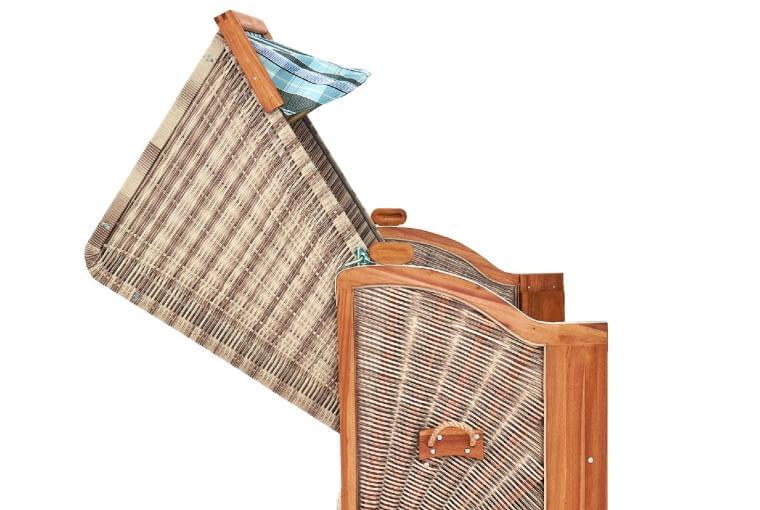 Wielofunkcyjny kosz z trwałego i praktycznego technoratanu oraz twardego drewna akacji, wym. 127×160×83 cm, Tchibo.