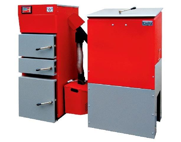 Kocioł z podajnikiem automatycznym - Bio Ling Duo Klimosz; moc 7-25 kW; palnik zsypowy; wymiennik ciepła ze stali. Wymiary (wys./szer./gł.): 1470/1650/900 mm. Cena brutto: 14 575 zł.