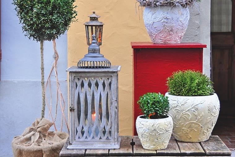 Podest na kółkach można zrobić np. z palety. Pomoże wyeksponować rośliny i przesuwać donice.