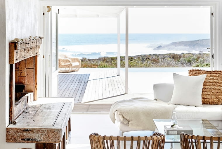 White living room with sea view