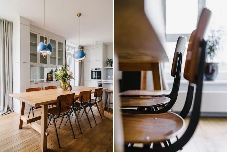 Jadalniany zakątek to fusion stylów. Prosty stół z surowego drewna, przy nim krzesła vintage Revolt (w tym samym miodowym odcieniu co regały), a nad - futurystyczne lampy Gubi Multi-Lite.