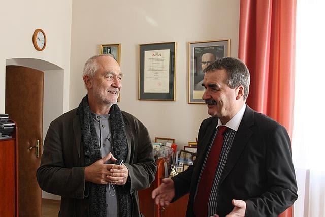 Peter Zumthor podczas rozmów o przebudowie synagogi w Kielcach
