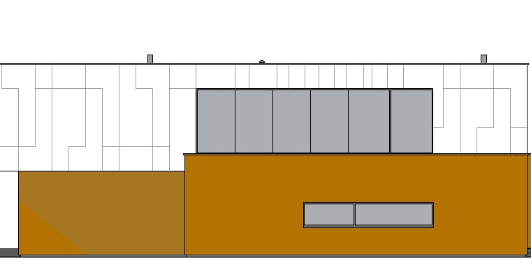 BOX_ house - modułowy dom. Elewacja 3.