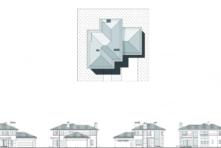 Dom wyróżnia się dostojną, spokojną stylistyką, czerpiącą motywy z dawnej architektury. Lekkie, jasne elewacje dobrze współgrają z ogrodową zielenią. Dom będzie dobrze wyglądał zarówno na pustej, jak i na zalesionej działce.