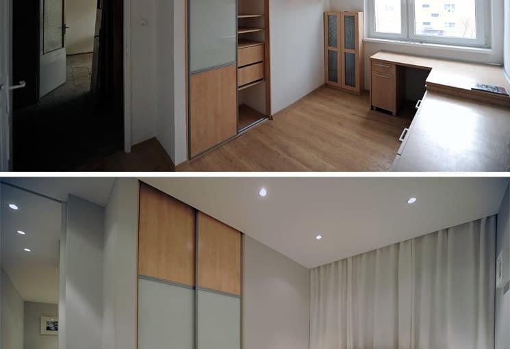 Wnękowa szafa w sypialni to jedyny element jaki pozostawiono ze starego wystroju.