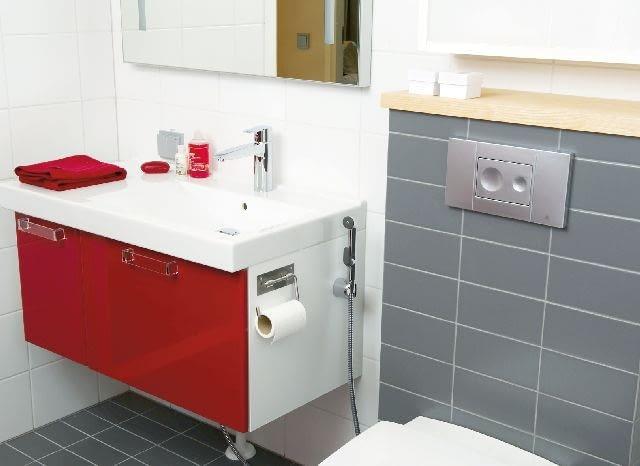 Bateria umywalkowa z minisłuchawką. Zasięg jej działania wynosi ok. 1,6 m.