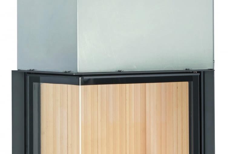 Kamin - Kessel Eck 57/67/44/BRUNNER | Wymiary (wys./szer./gł.): 1466 x 911 x 725 mm | ciepło użytkowe z załadunku 3-8 kg drewna - 10-27 kWh | palenisko wykonane ze stali, szyba witroceramiczna, szamot naturalny | w opcji sterowanie procesem spalania i pompą obiegową. Cena (netto): ok. 23 935 zł, www.brunner.pl