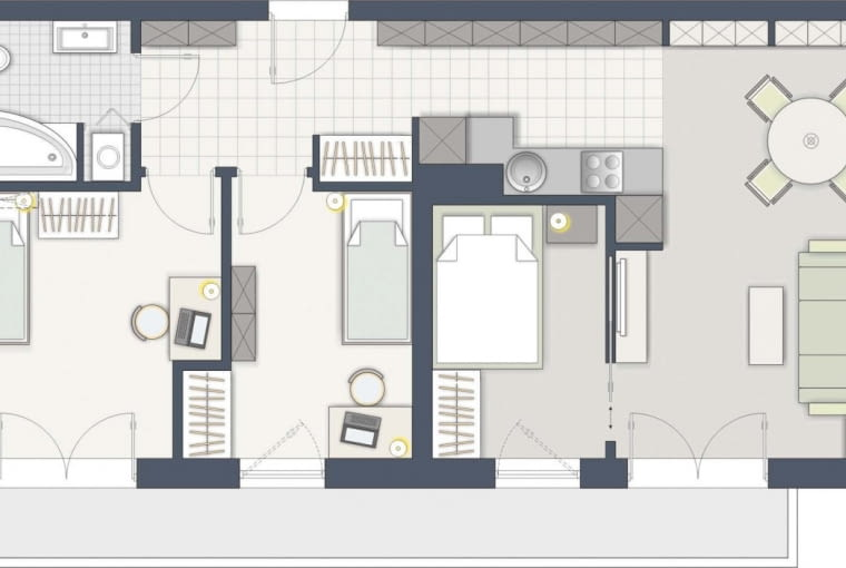 Rozwiązanie 1: Państwa sypialnię urządziłam w miejscu przewidzianym na aneks kuchenny. Ten natomiast przeniosłam na drugą stronę pionu wodno-kanalizacyjnego (pogrubiona ścianka na planie). Sypialnia ma spore okno, wpada więc do niej dzienne światło.