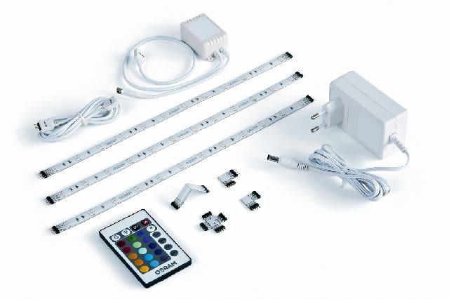LEDsDECO Flex OSRAM, zestaw: 3 taśmy LED, pilot, 4 elementy łączące, wtyczka, cena: 345 zł