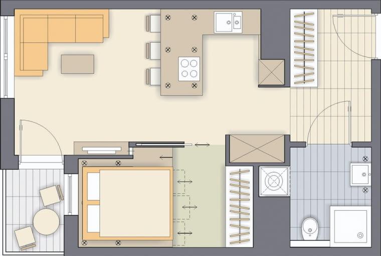 Rozwiązanie 1 <BR />Ściana wydzielająca sypialnię została tak ukształtowana, by od strony pokoju dziennego powstały dwie wnęki: większa na szafę i mniejsza na szafkę RTV. Pokój nieco się więc zmniejszył, ale mimo to mieści się tu spora szafa i łóżko, które proponuję ustawić na podeście, a pod nim ukryć schowki-szuflady.