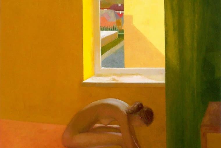 Marta Makarczuk, Przy oknie, olej na płótnie, 100 x 115 cm, 5600 zł