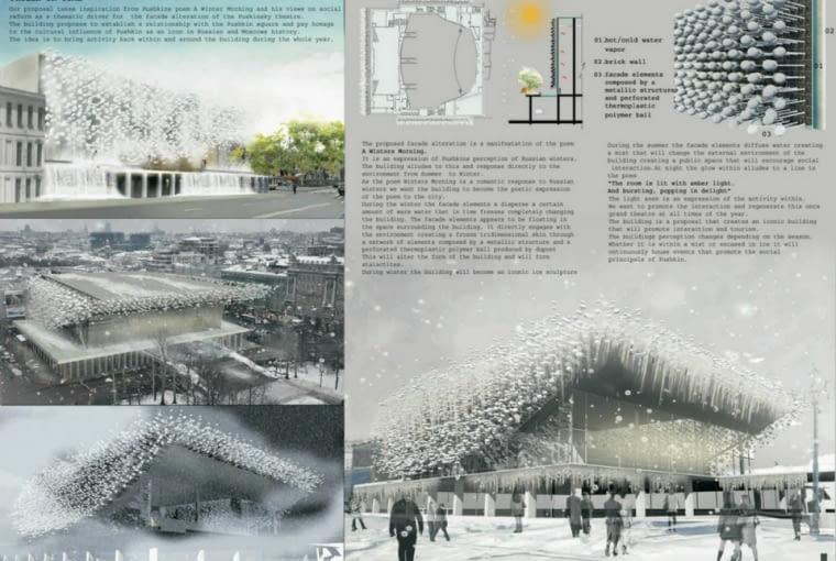 W zwycięskiej pracy Juan'a Andres'a i Diaz'a Parry można zauważyć dialog pomiędzy zachowanymi gabarytami modernistycznego gmachu, a oplatającą go, nowoczesną technologią