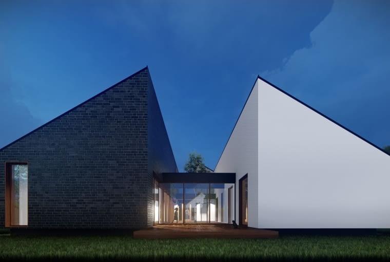 Projekt koncepcyjny parterowego domu atrialnego - wizualizacja.