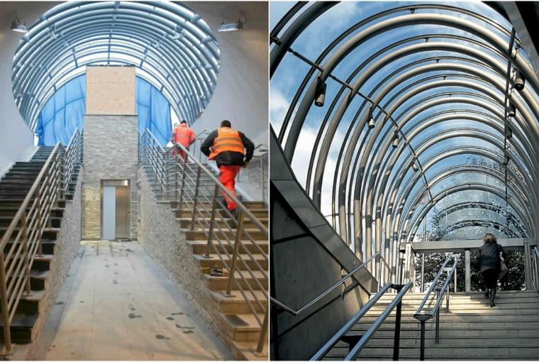 Zejście do podziemnego przejścia w Białymstoku, obok zejście do metra w Bilbao