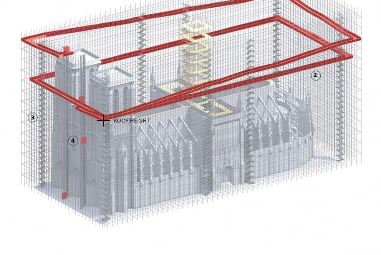 Widokowe rusztowania wokół katedry Notre Dame w Paryżu. Proj. Soltani+LeClercq