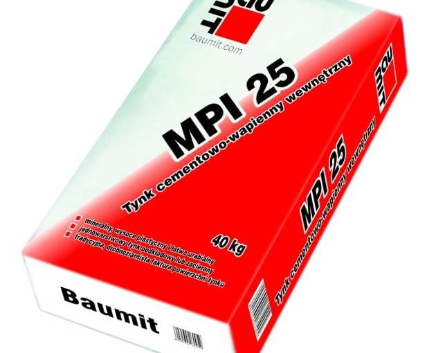 Baumit MPI 25 - worek 40 kg, cena brutto 24,60 zł/worek - tynk cementowo - wapienny wewnętrzny