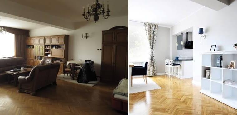 Zdjęcia przed metamorfozą i po niej. Podczas remontu wyburzono ścianę dzielącą dwa mieszkania. Jedno było bardzo duże, niezamieszkałe przez nikogo. Drugie małe, z osobnym wejściem, składające się właściwie tylko z obecnego salonu, w którym mieszkała jedna osoba.