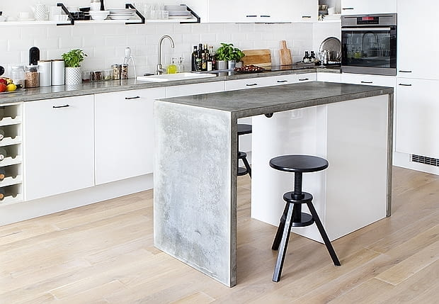 Morgan & Möller, kuchnia, blat, betonowy blat, kuchnia z betonowym blatem, beton w kuchnii