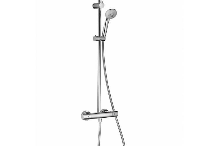 ARIN, ścienna, znatynkową baterią termostatyczną irączką prysznicową, mosiądz ichrom, śr. 16 cm 1248 zł Omnires