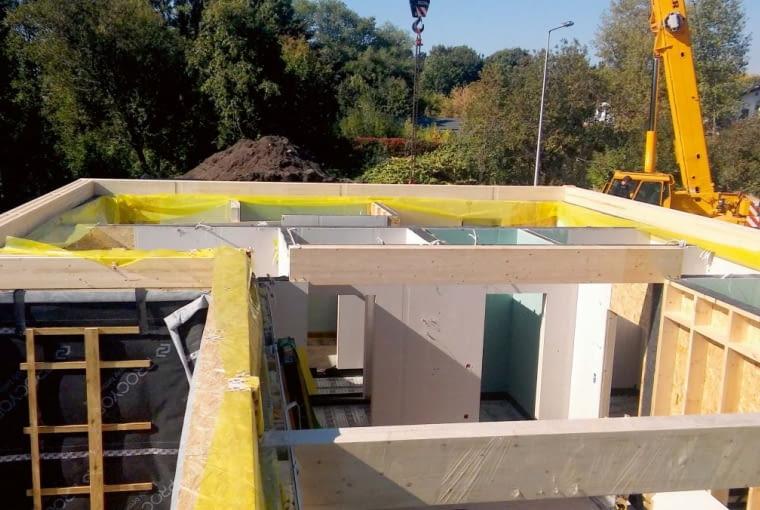 W budynku zastosowano podpory pośrednie - podciągi zapewnią podparcie ścianom wyższej kondygnacji