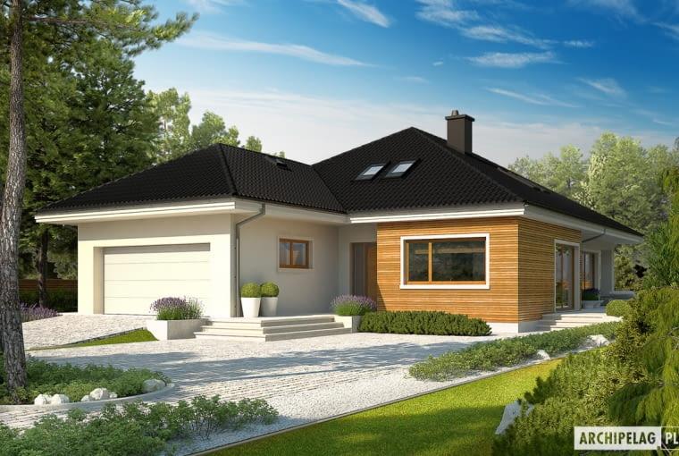 Wybór padł na projekt Liv 3 G2 z kolekcji wrocławskiej Pracowni Projektowej ARCHIPELAG: 130 m² + 10 m² kotłownia + garaż 29 m² + poddasze do adaptacji 58 m².