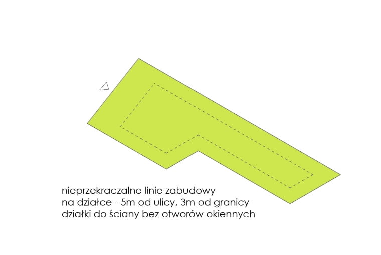 Diagram obrazujący sposób rozwiązania domu na wąskiej działce