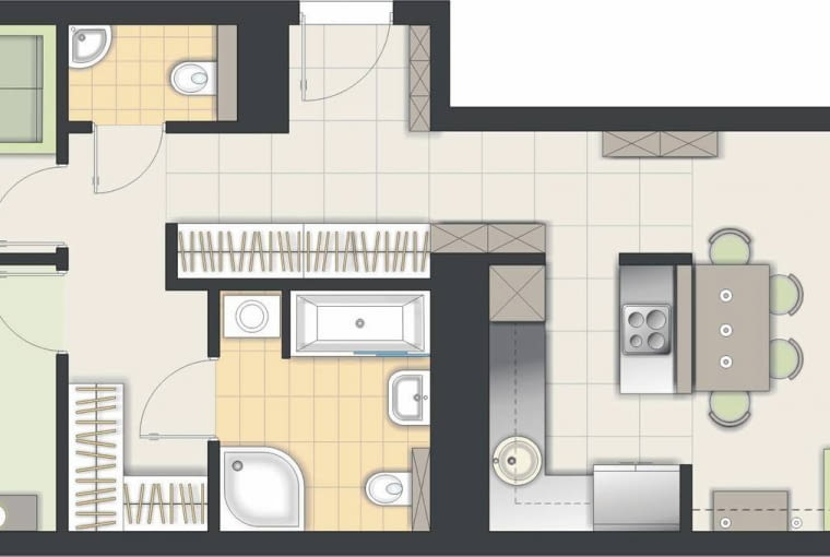 Rozwiązanie 1 <BR />Część dzienna jest przestronna. W kuchni, zgodnie z życzeniem, zaprojektowałem wyspę; przy niej jest miejsce na stół. Jeden z mniejszych pokoi przeznaczyłem na gabinet.