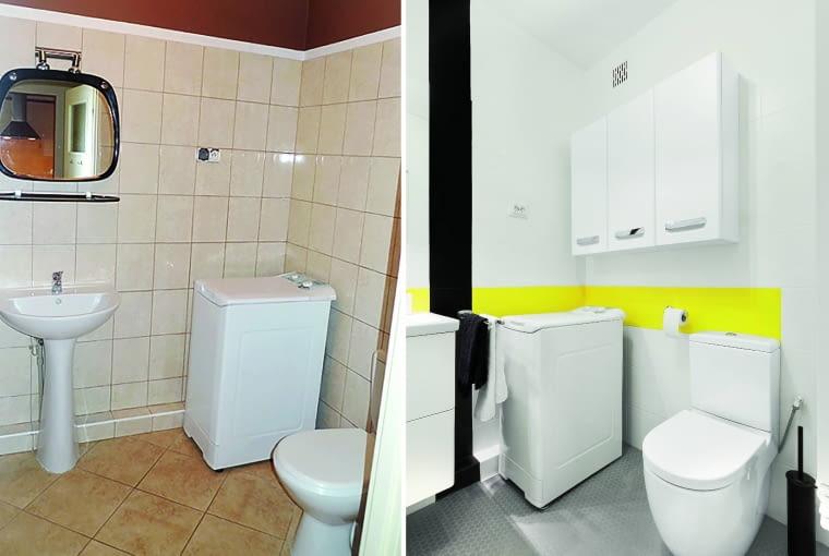 Łazienka przed zmianą i po.