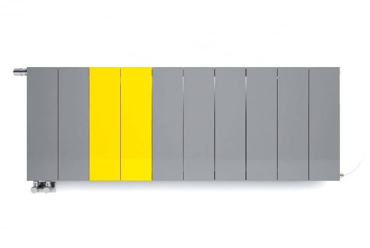 Neo/TERMA   Wymiary [mm]: szer. 600-1950, wys. 545   materiał: stal   moc: 560-1820   nieznacznie odstający od ściany, modułowy   wysoka sprawność   każdy moduł może być innego koloru (ok. 248 barw). Cena: od 2200 zł, www.termaheat.pl