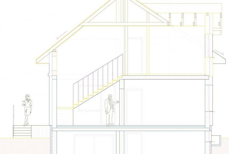 Przekrój domu. Kolorem żółtym jest wyróżniona część nadbudowana
