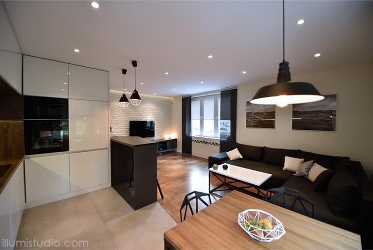 salon z kuchnią, oświetlenie