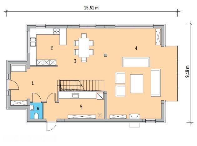 Rzut parteru - 1. Hol - 16 m2; 2. Kuchnia - 11,9 m2; 3. Jadalnia - 17,8 m2; 4. Salon - 47,9 m2; 5. Pralnia - 12 m2; 6. w.c. - 2m2