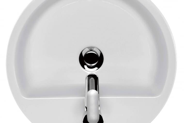 Caspia Ring/CERSANIT. Umywalka ceramiczna nablatowa w kształcie koła; w zestawie szablon ułatwiający wycięcie otworów montażowych; wymiary: szer. 44 cm, gł. 44 cm. Cena: 459 zł, www.cersanit.com.pl