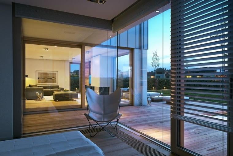 sypialnia, duże okna, projekt domu