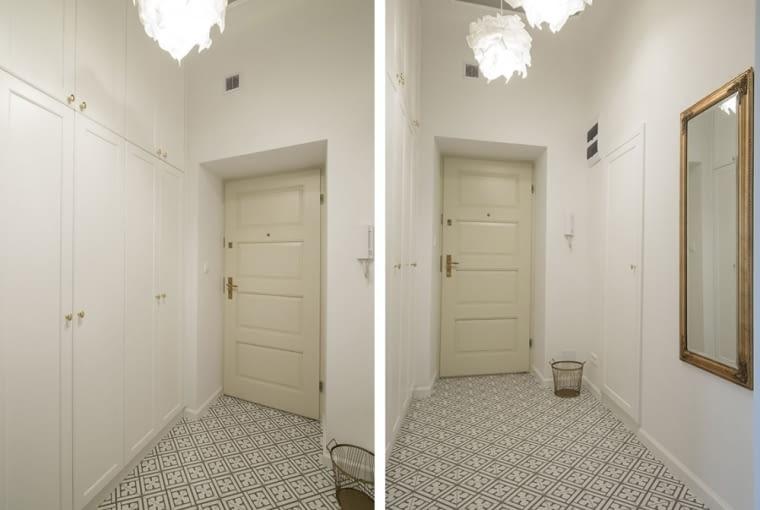 Przestronny korytarz z dekoracyjnym oświetleniem i podłoga z geometrycznym wzorem