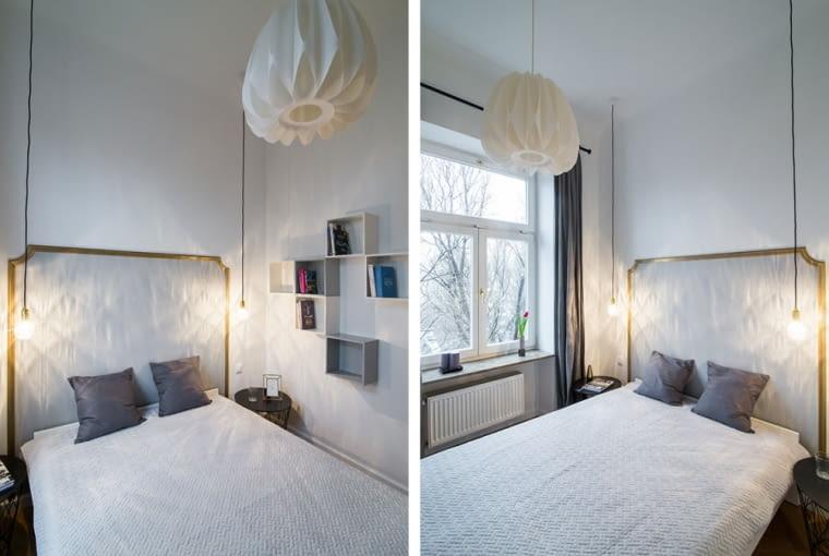 Nad łóżkiem w sypialni zawieszono dwie lampy. Dzięki ciepłemu światłu i cieniom rzucanym na ścianę, tworzą przytulny klimat.