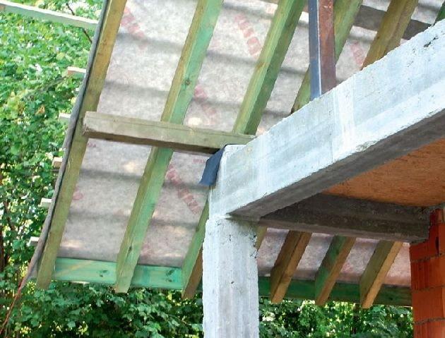 Zaimpregnowana konstrukcja dachu przykryta membraną dachową