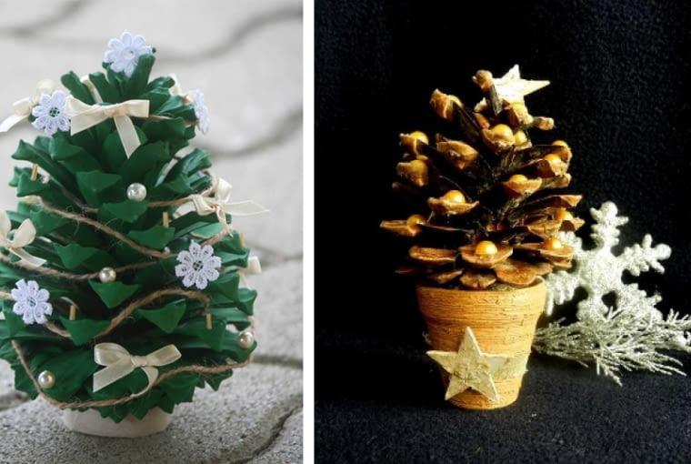 Mini choinki z szyszek, ozdoba świąteczna, święta, dekoracje śiwąteczne, Boże Narodzenie