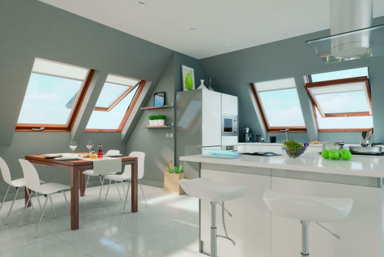 okna dachowe, okna połaciowe, kuchnia, jadalnia, poddasze