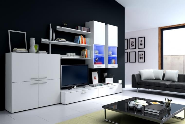 Białe meble i czarne ściany