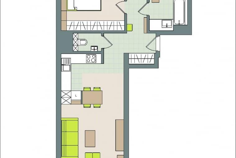Rzut oka na plan: 65 m2 . WWarszawie, 3 pokoje . Domownicy: Katarzyna i Kamil