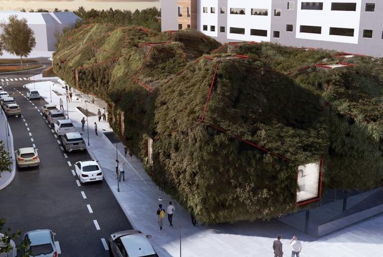 Green spaceship - biblioteka publiczna w Madrycie. Proj. 3GATTI.