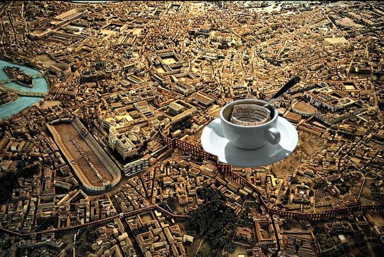 Paul Kath w swoim żartobliwym projekcie z 2008 r. proponował zamknąć Koloseum w ogromnej filiżance Cappuccino