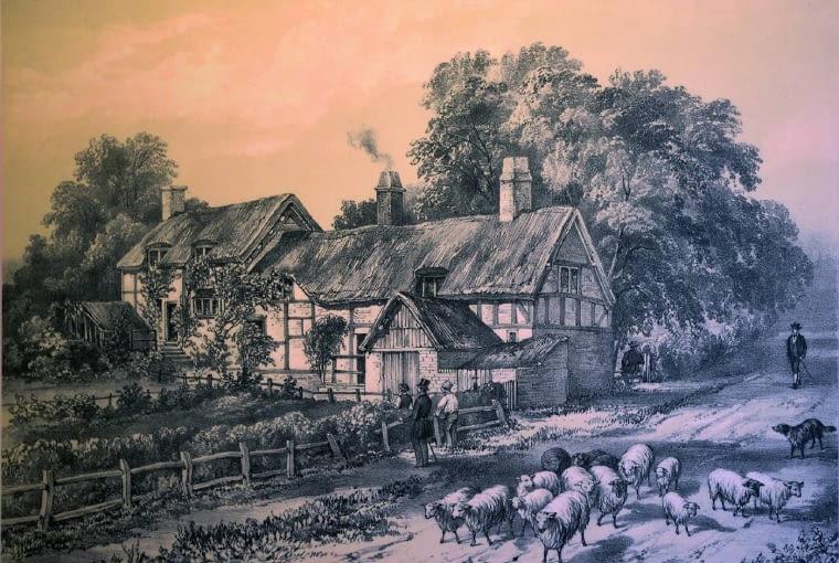 Dom Anny Hathaway, żony Szekspira. Rycina przedstawia osłonięty żywopłotami warzywnik, który w końcu XIX wieku zmienił się w ogród kwiatowy.