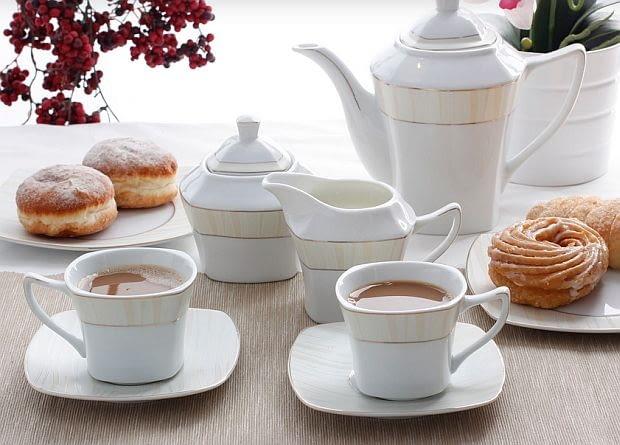 serwisy kawowe, porcelana