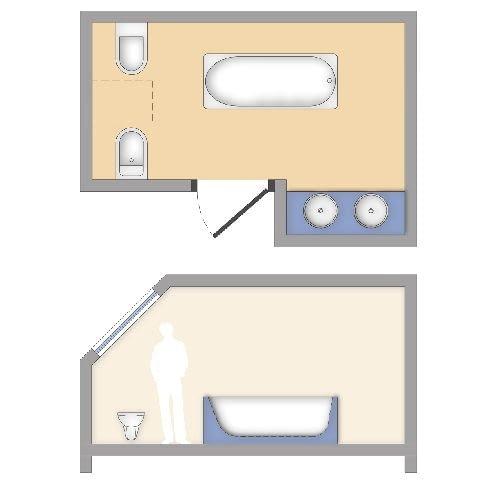 W łazienkach małych, trudno ustawnych lub znajdujących się na poddaszu, bidet i miskę ustępową trudno jest umieścić obok siebie. Najczęściej wiesza się je wówczas naprzeciwko.